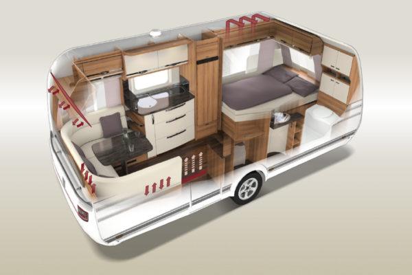 Tabbert Wohnwagen 3D Grundriss, Aufbau
